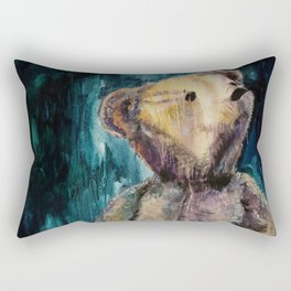 Vintage Teddy Bear, Gold on Blue Rectangular Pillow