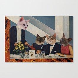 Cats Dine Canvas Print