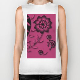 Pink Yarrow Floral Abstract Biker Tank