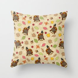 Thanksgiving Turkey pattern Throw Pillow