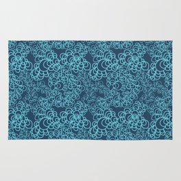 Blue Flower Doodle Rug