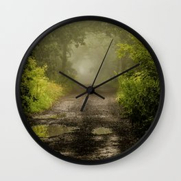 Misty Woodland Lane II Wall Clock