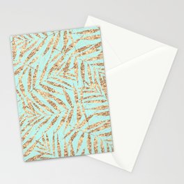 Tropical Gold and Mint Palm Leaves Design Stationery Cards