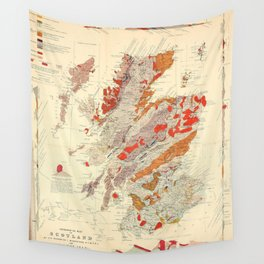 Vintage Scotland Geological Map (1865) Wall Tapestry