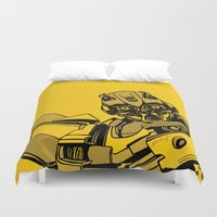 transformers Duvet Covers featuring Transformers: Bumblebee by Skullmuffins