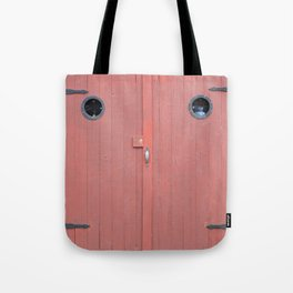 Red Port Hole Door Tote Bag