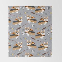 corgi wizard welsh corgis potter wizarding school pattern Throw Blanket