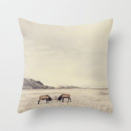 Sparring Elk in Wyoming - Wildlife Photography Throw Pillow