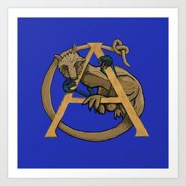 Alfie the Alphyn Letter A Art Print