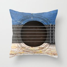 Old Vintage Acoustic Guitar with Estonian Flag Throw Pillow
