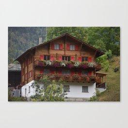 Swiss Alpine Chalet in Valais Switzerland Canvas Print