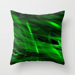 Saturated green and smooth sparkling lines of grass tapes on the theme of space and abstraction. Throw Pillow