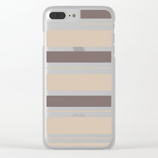 Caffeinated Tones Horizontal Striped Clear iPhone Case