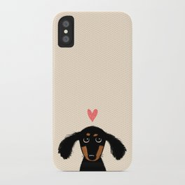 Dachshund Love | Longhaired Black and Tan Wiener Dog iPhone Case