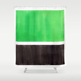 Abstract Midcentury Modern Minimalism Pop Art Colorful Emerald Green Black Squares Rothko Shower Curtain