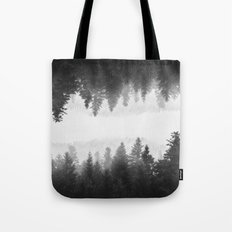 Black and white foggy mirrored forest Tote Bag