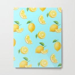 Lemons on Blue Metal Print