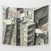 city Wall Tapestries featuring city by Madmi