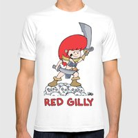 Red Gilly! MEDIUM White Mens Fitted Tee