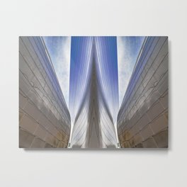 Architectural Abstract of a metal clad building looking skyward Metal Print