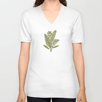 study V-neck T-shirts featuring Fern Study by Heather Dutton