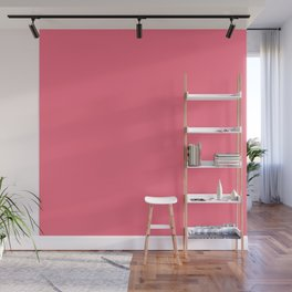 Watermelon Pink Simple Solid Color All Over Print Wall Mural