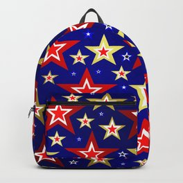 christmas pattern red star, gold stars,blue shiny background Backpack