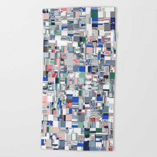 Geometric Grid of Colors Beach Towel