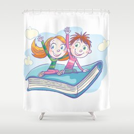 Flying Book Shower Curtain