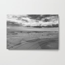 Driving on Assateague Island (Black and White) Metal Print
