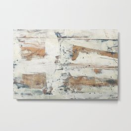 Wood planks epoxy resin repairing shipboard texture Metal Print