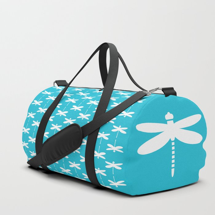 Dragonfly (white on blue) Duffle Bag