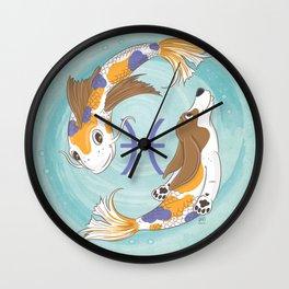 Pisces Zodiac Basset Hound Wall Clock