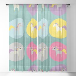 Cute Unicorn polka dots teal pastel colors and linen texture #homedecor #apparel #stationary #kids Sheer Curtain