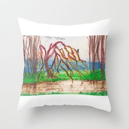Stream-side blue Throw Pillow