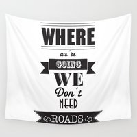 back to the future Wall Tapestries featuring back to the future by christopher-james robert warrington