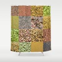 peanuts Shower Curtains featuring Healthy food I by dominiquelandau