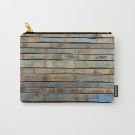 distressed wood wall - Blue and brown planks Carry-All Pouch