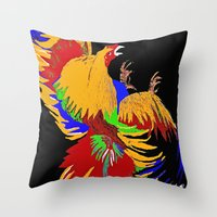cock Throw Pillows featuring Cock Fight by Saundra Myles