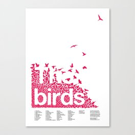 The birds / Red on white Canvas Print