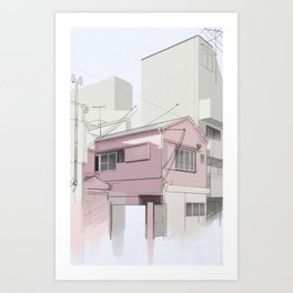 Japanese Cityscape in the Afternoon Art Print