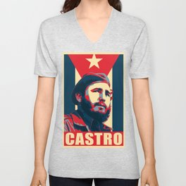 Fidel Castro Propaganda Poster Unisex V-Neck