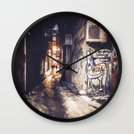 Lower East Side - Midnight Warmth on a Snowy Night Wall Clock