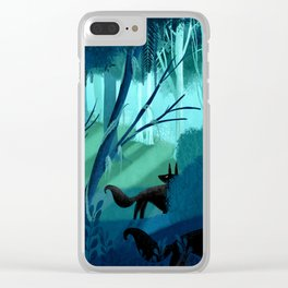 Shadow Wolves Stalk The Silver Wood Clear iPhone Case