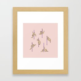 Sloths Pole Dancing Club Framed Art Print