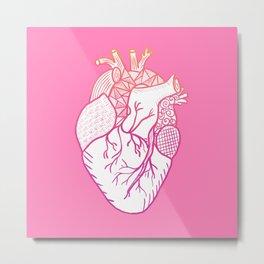 Designer Heart Pink Background Metal Print