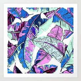 BANANA LEAF PALM PASTEL PINK AND BLUE Art Print