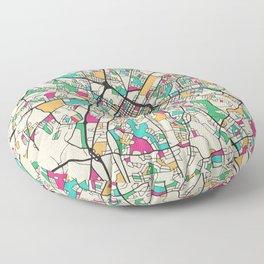 Colorful City Maps: Charlotte, North Carolina Floor Pillow