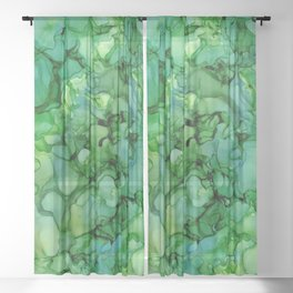 Green Abstract: Original Alcohol Ink Painting Sheer Curtain
