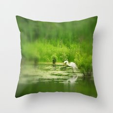 Marsh Egret 2 Throw Pillow